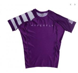 рашгард hyperfly Short Sleeve Classic Ranked Rash Guard purple